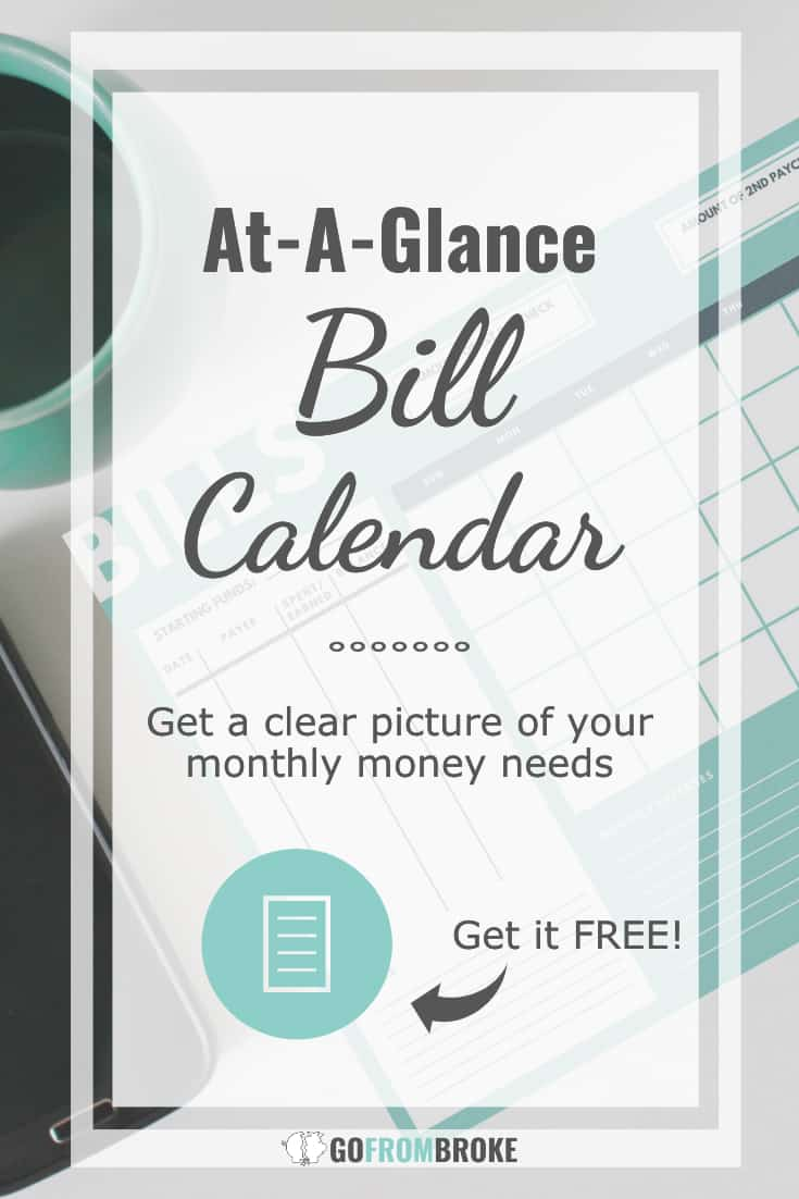 Get a clear view of when your bills are due in relation to your payday and finally take control of your money with this monthly bill calendar.