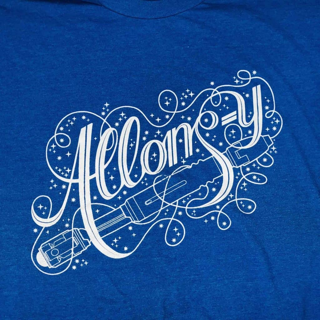 Combines my love for Doctor Who with my love for scripted font tees.