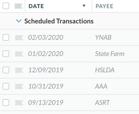 Screenshot of YNAB's Scheduled Transactions section