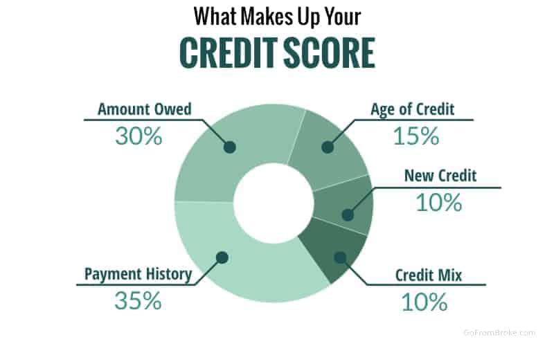 Pie chart showing the activities and percentages that make up your credit score.