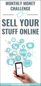 Monthly money challenge - sell your stuff online Pinterest pin image