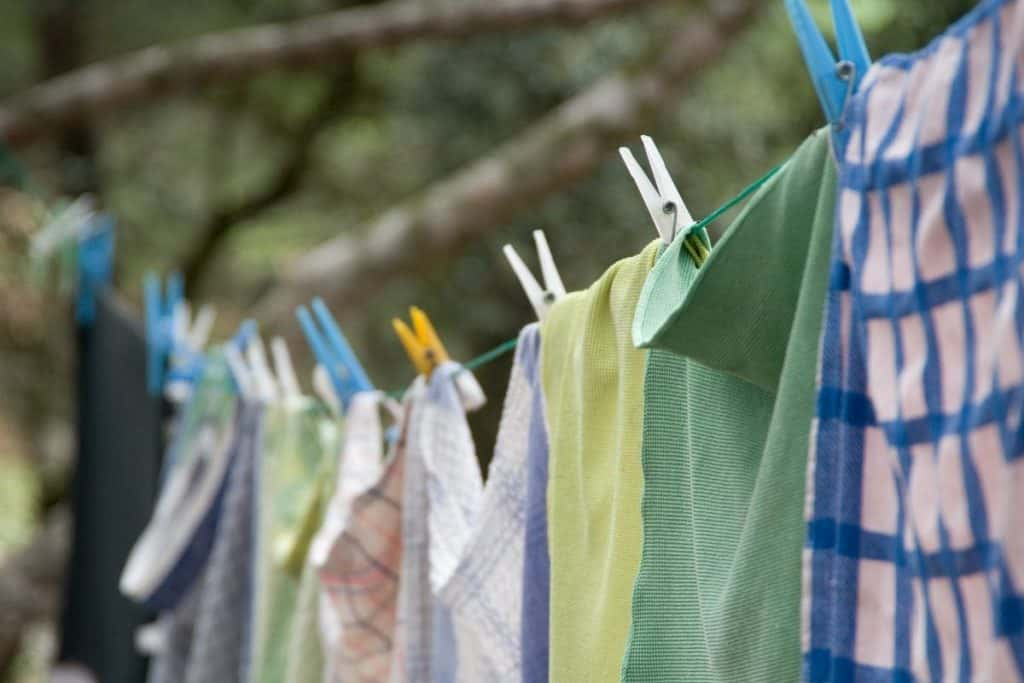 Extreme Frugality - Clothes line drying outside