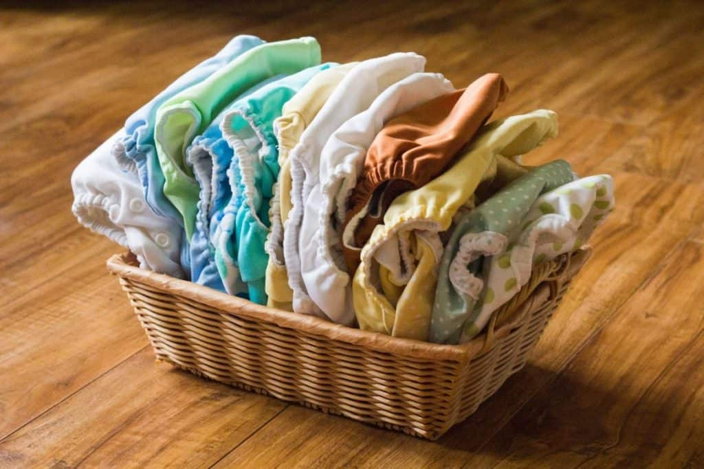 Extreme Frugality - basket of cloth diapers