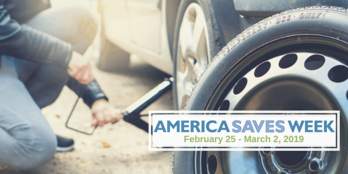 Photo of person changing a tire with logo for America Saves Week 2019 in the corner
